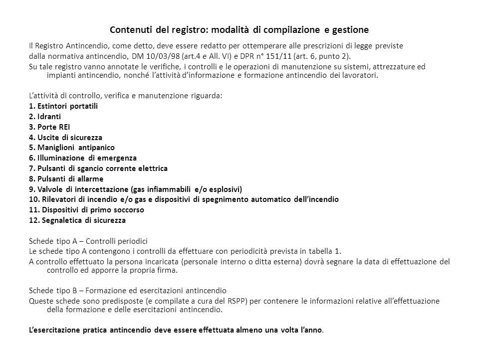 Contenuti del registro: modalità di compilazione e gestione Il Registro Antincendio, come detto, deve essere redatto per ottemperare alle prescrizioni