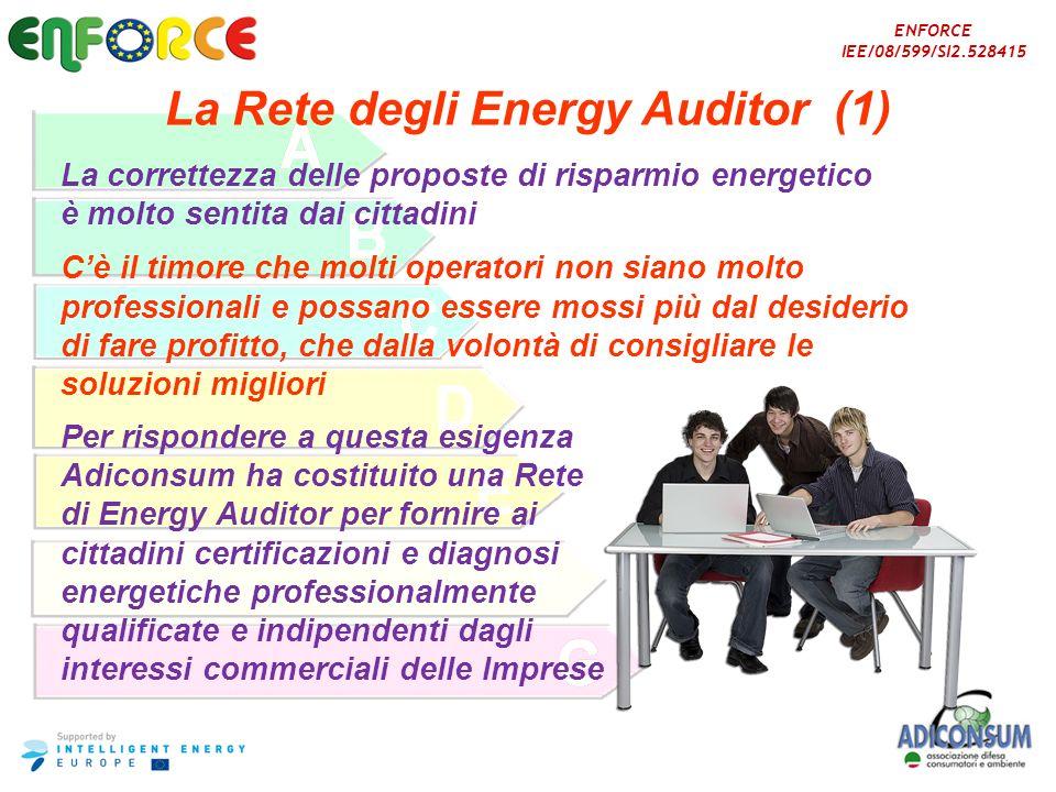 ENFORCE IEE/08/599/SI2.528415 La Rete degli Energy Auditor (1) La correttezza delle proposte di risparmio energetico è molto sentita dai cittadini Cè