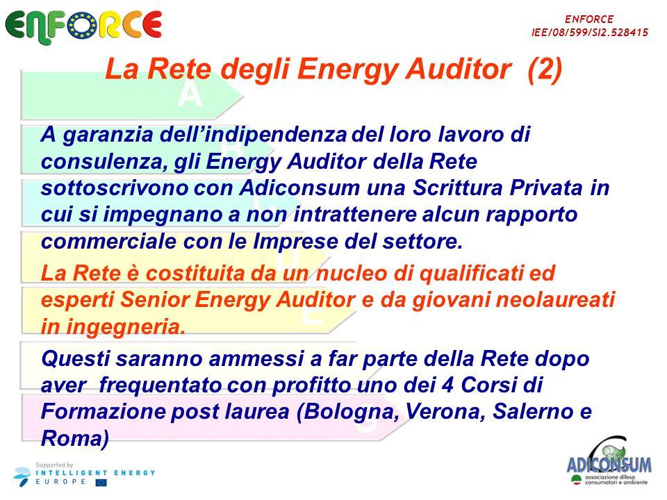 ENFORCE IEE/08/599/SI2.528415 La Rete degli Energy Auditor (2) A garanzia dellindipendenza del loro lavoro di consulenza, gli Energy Auditor della Ret