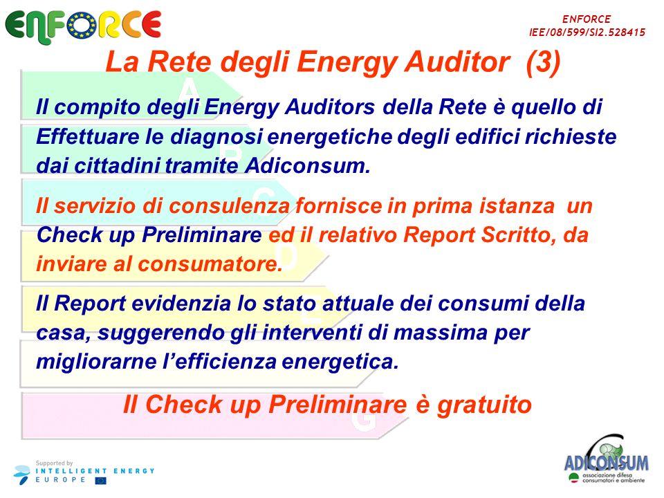 ENFORCE IEE/08/599/SI2.528415 La Rete degli Energy Auditor (3) Il compito degli Energy Auditors della Rete è quello di Effettuare le diagnosi energeti