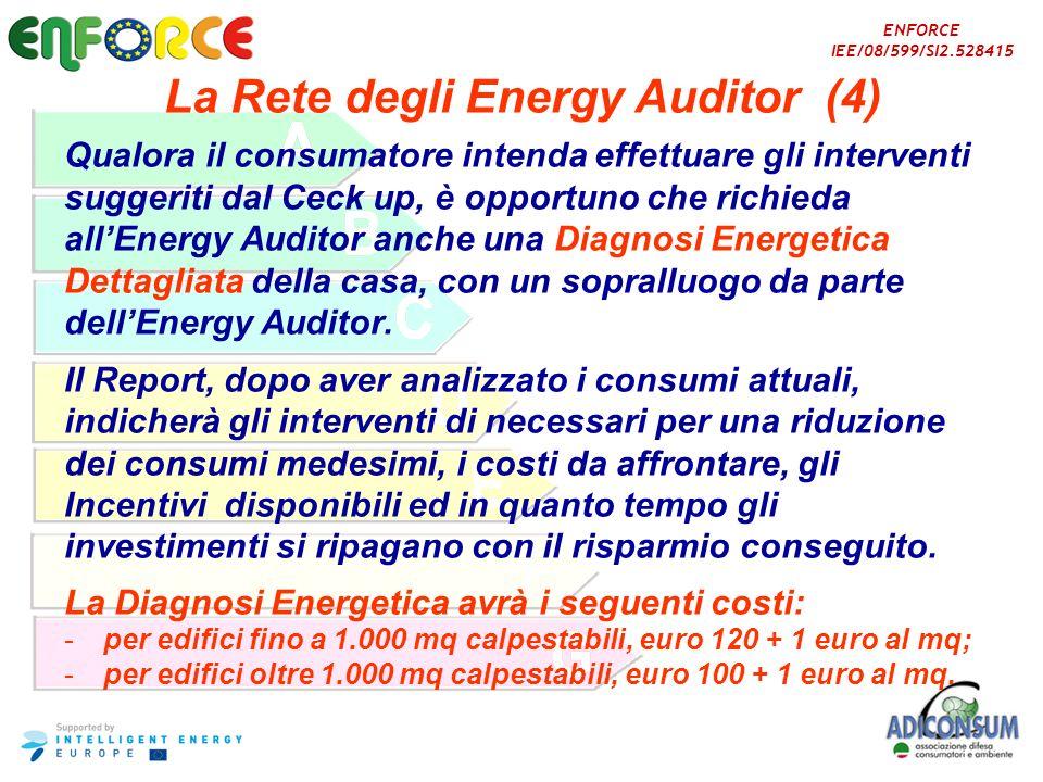 ENFORCE IEE/08/599/SI2.528415 La Rete degli Energy Auditor (4) Qualora il consumatore intenda effettuare gli interventi suggeriti dal Ceck up, è oppor