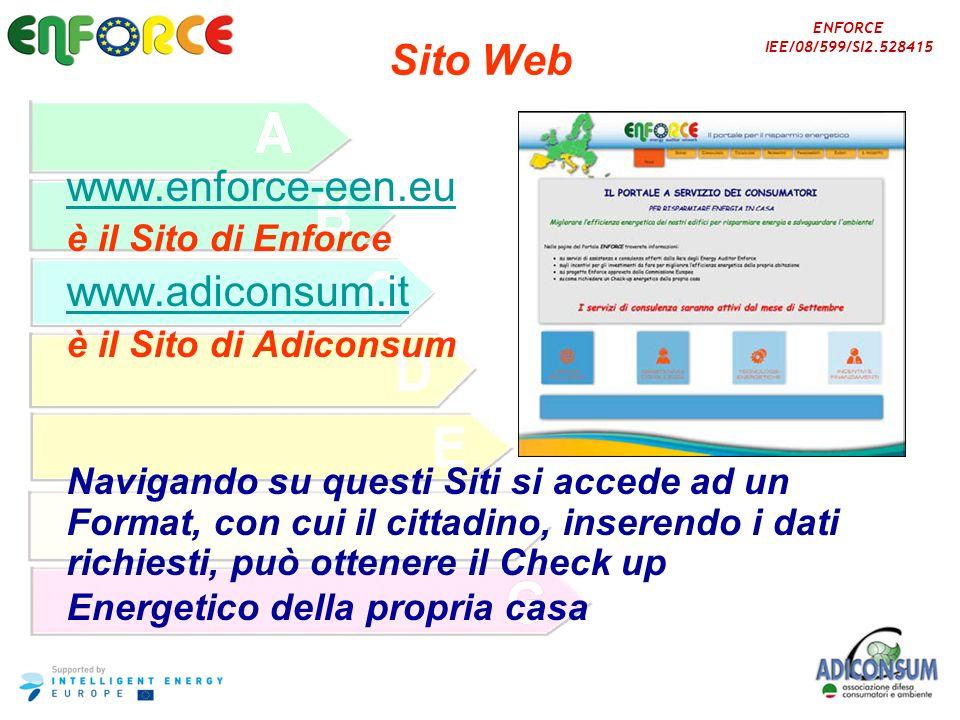ENFORCE IEE/08/599/SI2.528415 Sito Web www.enforce-een.eu è il Sito di Enforce www.adiconsum.it è il Sito di Adiconsum Navigando su questi Siti si acc