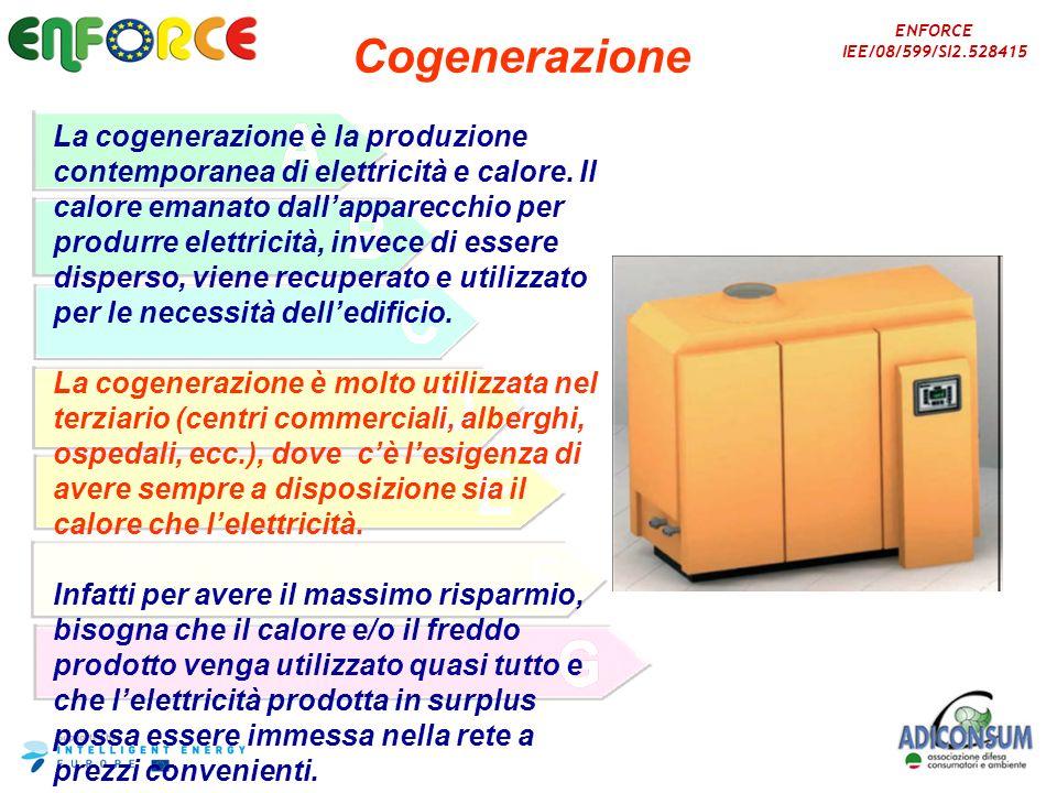ENFORCE IEE/08/599/SI2.528415 Cogenerazione La cogenerazione è la produzione contemporanea di elettricità e calore. Il calore emanato dallapparecchio
