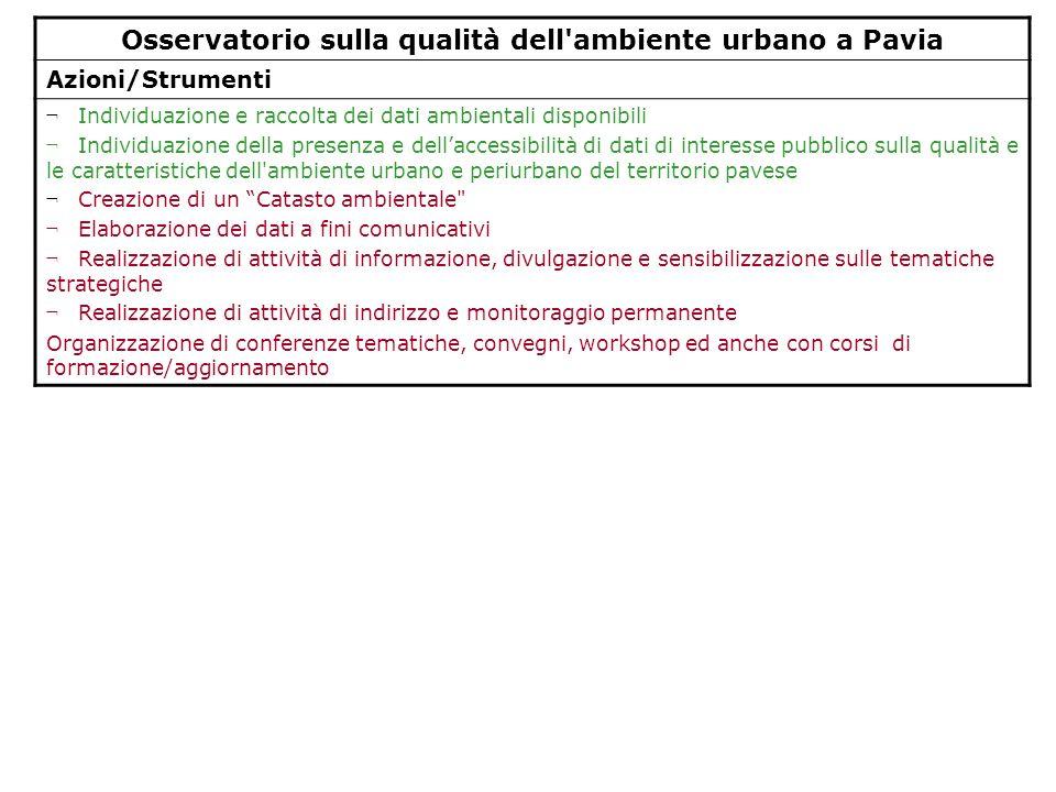 Osservatorio sulla qualità dell'ambiente urbano a Pavia Azioni/Strumenti ¬ Individuazione e raccolta dei dati ambientali disponibili ¬ Individuazione