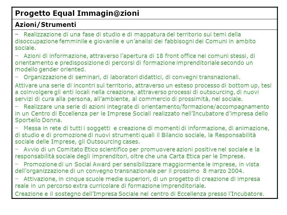 Progetto Equal Immagin@zioni Azioni/Strumenti ¬ Realizzazione di una fase di studio e di mappatura del territorio sui temi della disoccupazione femmin
