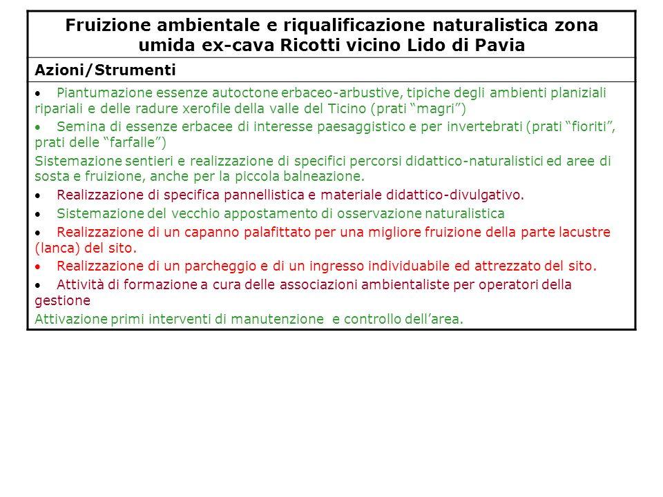 Fruizione ambientale e riqualificazione naturalistica zona umida ex-cava Ricotti vicino Lido di Pavia Azioni/Strumenti Piantumazione essenze autoctone