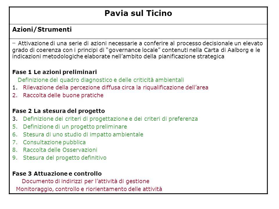 Pavia sul Ticino Azioni/Strumenti ¬ Attivazione di una serie di azioni necessarie a conferire al processo decisionale un elevato grado di coerenza con