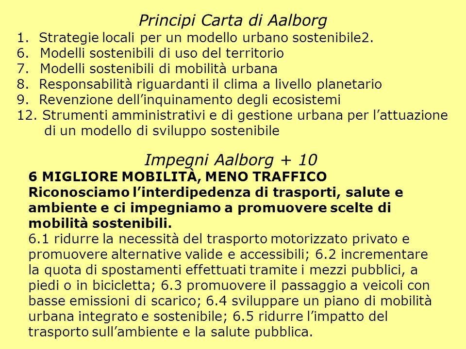 Principi Carta di Aalborg Impegni Aalborg + 10 6 MIGLIORE MOBILITÀ, MENO TRAFFICO Riconosciamo linterdipedenza di trasporti, salute e ambiente e ci im