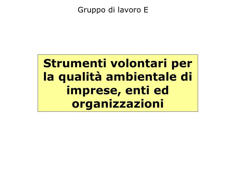 Gruppo di lavoro E Strumenti volontari per la qualità ambientale di imprese, enti ed organizzazioni