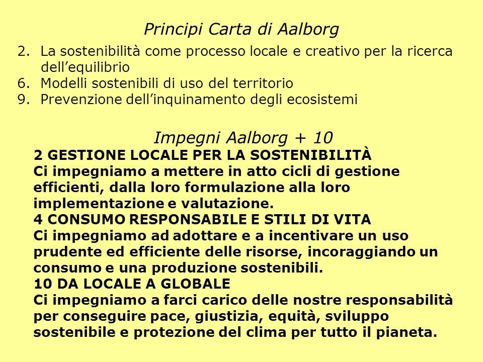 Principi Carta di Aalborg Impegni Aalborg + 10 2 GESTIONE LOCALE PER LA SOSTENIBILITÀ Ci impegniamo a mettere in atto cicli di gestione efficienti, da