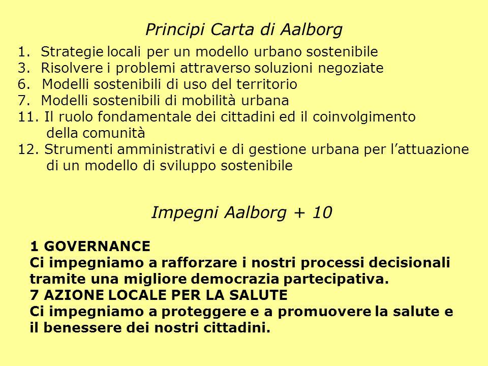 Principi Carta di Aalborg Impegni Aalborg + 10 1 GOVERNANCE Ci impegniamo a rafforzare i nostri processi decisionali tramite una migliore democrazia p