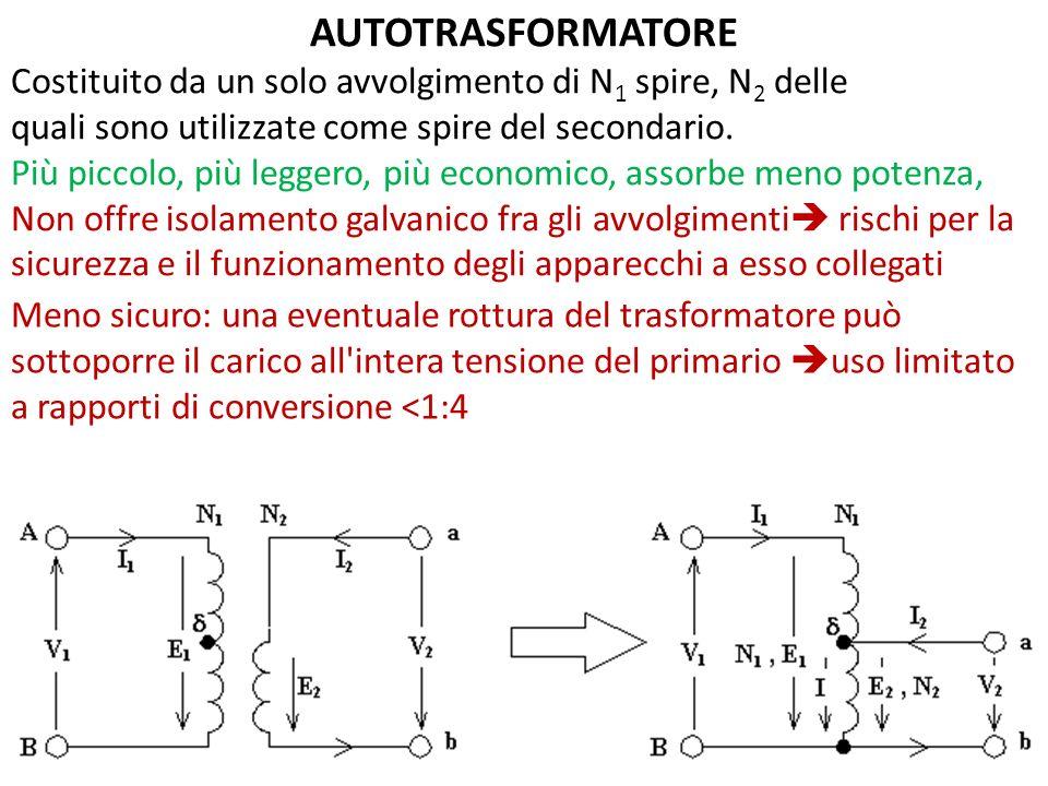 AUTOTRASFORMATORE Costituito da un solo avvolgimento di N 1 spire, N 2 delle quali sono utilizzate come spire del secondario.