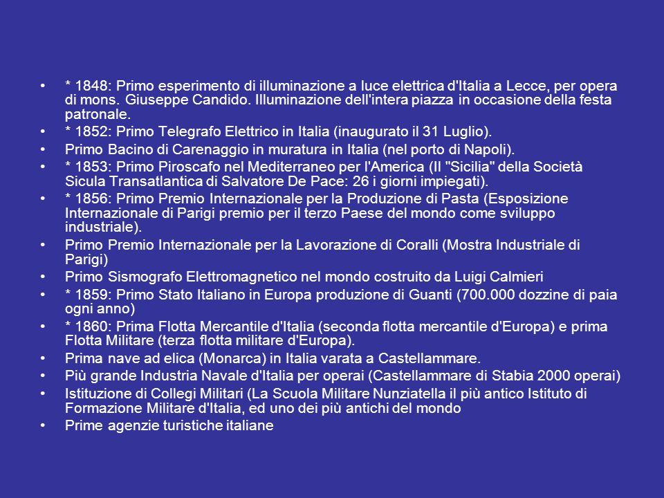 * 1848: Primo esperimento di illuminazione a luce elettrica d'Italia a Lecce, per opera di mons. Giuseppe Candido. Illuminazione dell'intera piazza in