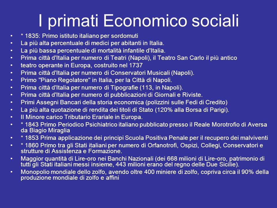 I primati Economico sociali * 1835: Primo istituto italiano per sordomuti La più alta percentuale di medici per abitanti in Italia. La più bassa perce
