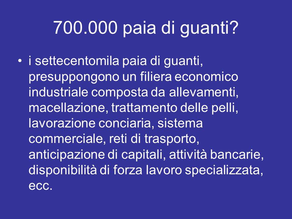 700.000 paia di guanti? i settecentomila paia di guanti, presuppongono un filiera economico industriale composta da allevamenti, macellazione, trattam