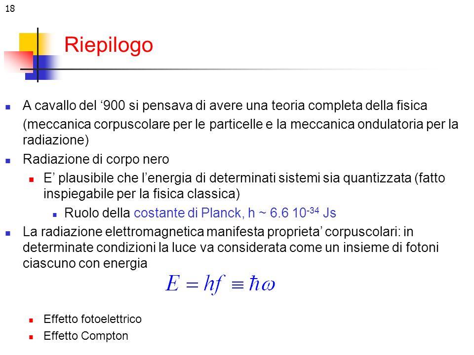 18 Riepilogo A cavallo del 900 si pensava di avere una teoria completa della fisica (meccanica corpuscolare per le particelle e la meccanica ondulator