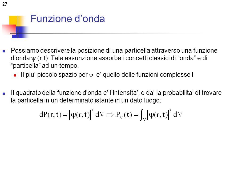 27 Funzione donda Possiamo descrivere la posizione di una particella attraverso una funzione donda (r,t). Tale assunzione assorbe i concetti classici