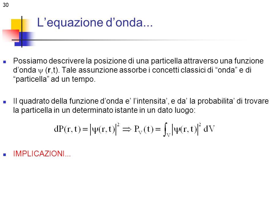 30 Lequazione donda... Possiamo descrivere la posizione di una particella attraverso una funzione donda (r,t). Tale assunzione assorbe i concetti clas
