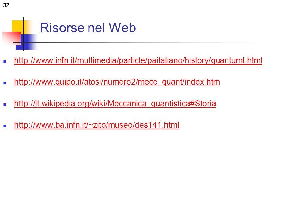 32 Risorse nel Web http://www.infn.it/multimedia/particle/paitaliano/history/quantumt.html http://www.quipo.it/atosi/numero2/mecc_quant/index.htm http