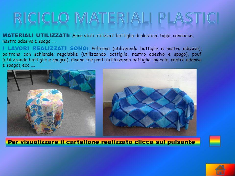MATERIALI UTILIZZATI: Sono stati utilizzati bottiglie di plastica, tappi, cannucce, nastro adesivo e spago …. I LAVORI REALIZZATI SONO: P oltrona (uti