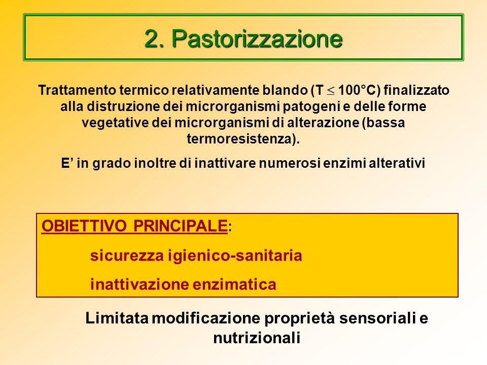 2. Pastorizzazione Trattamento termico relativamente blando (T 100°C) finalizzato alla distruzione dei microrganismi patogeni e delle forme vegetative