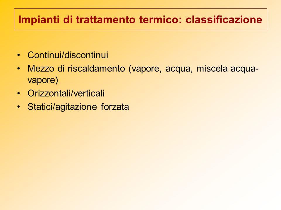 Impianti di trattamento termico: classificazione Continui/discontinui Mezzo di riscaldamento (vapore, acqua, miscela acqua- vapore) Orizzontali/vertic