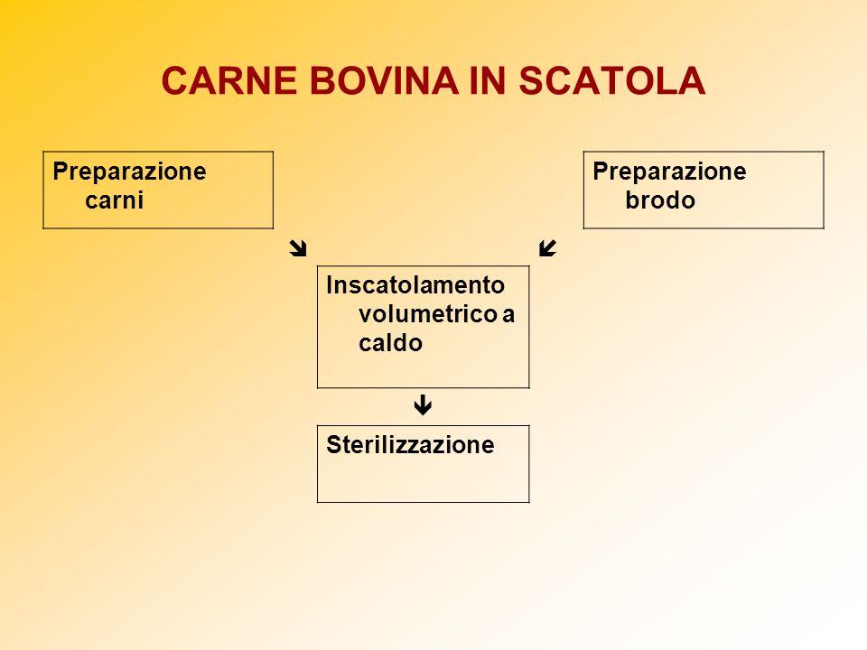 CARNE BOVINA IN SCATOLA Preparazione carni Preparazione brodo Inscatolamento volumetrico a caldo Sterilizzazione