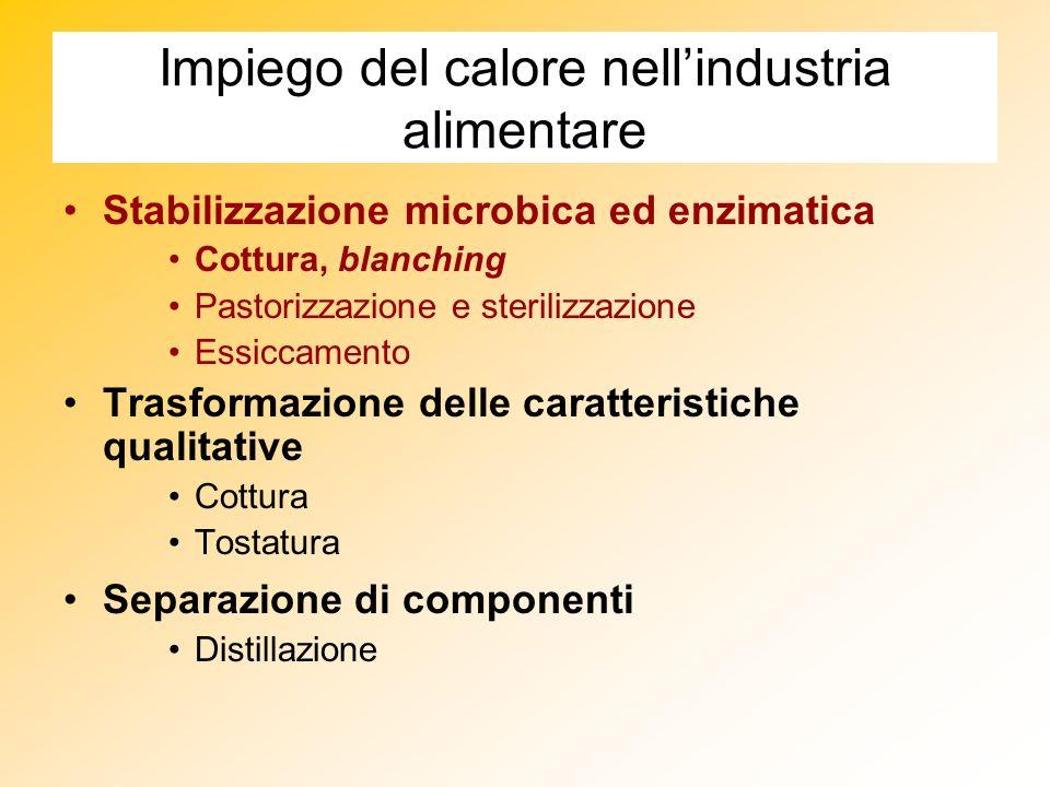 Impiego del calore nellindustria alimentare Stabilizzazione microbica ed enzimatica Cottura, blanching Pastorizzazione e sterilizzazione Essiccamento