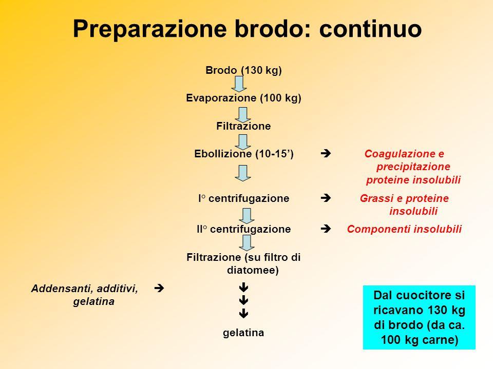 Preparazione brodo: continuo Brodo (130 kg) Evaporazione (100 kg) Filtrazione Ebollizione (10-15) Coagulazione e precipitazione proteine insolubili I°