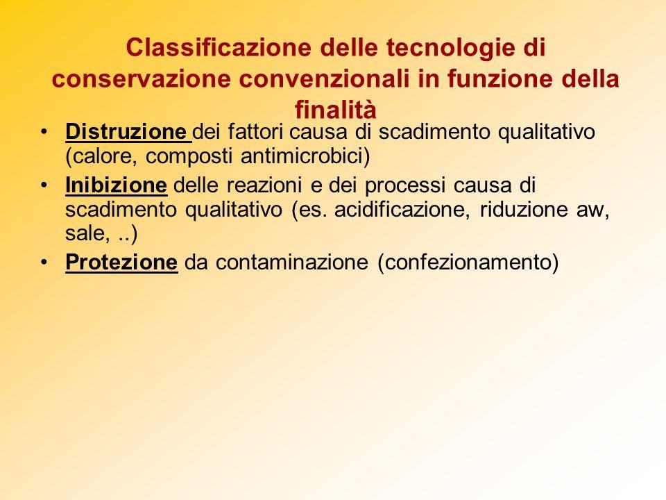 Classificazione delle tecnologie di conservazione convenzionali in funzione della finalità Distruzione dei fattori causa di scadimento qualitativo (ca