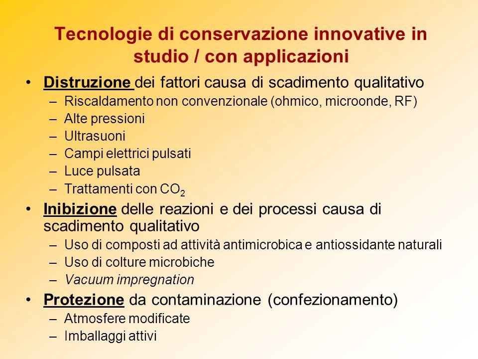 Tecnologie di conservazione innovative in studio / con applicazioni Distruzione dei fattori causa di scadimento qualitativo –Riscaldamento non convenz