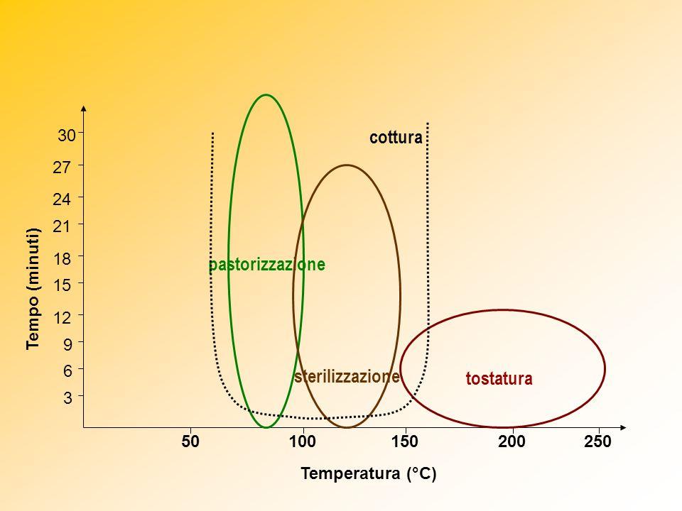 50100150250200 tostatura 3 6 15 12 21 18 24 9 30 27 cottura pastorizzazione sterilizzazione Tempo (minuti) Temperatura (°C)