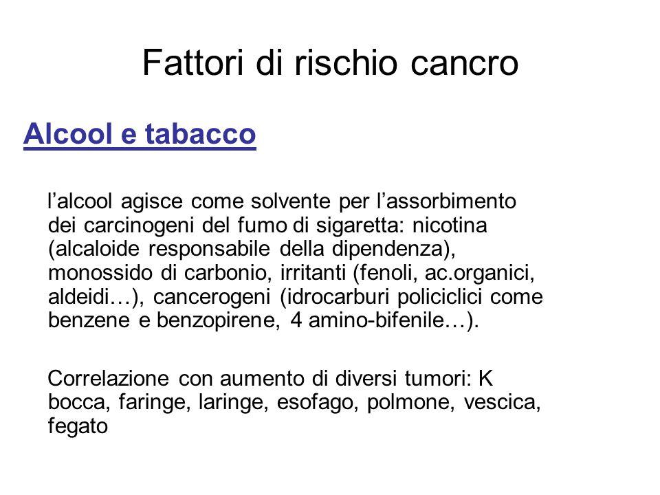 Fattori di rischio cancro Alcool e tabacco lalcool agisce come solvente per lassorbimento dei carcinogeni del fumo di sigaretta: nicotina (alcaloide r