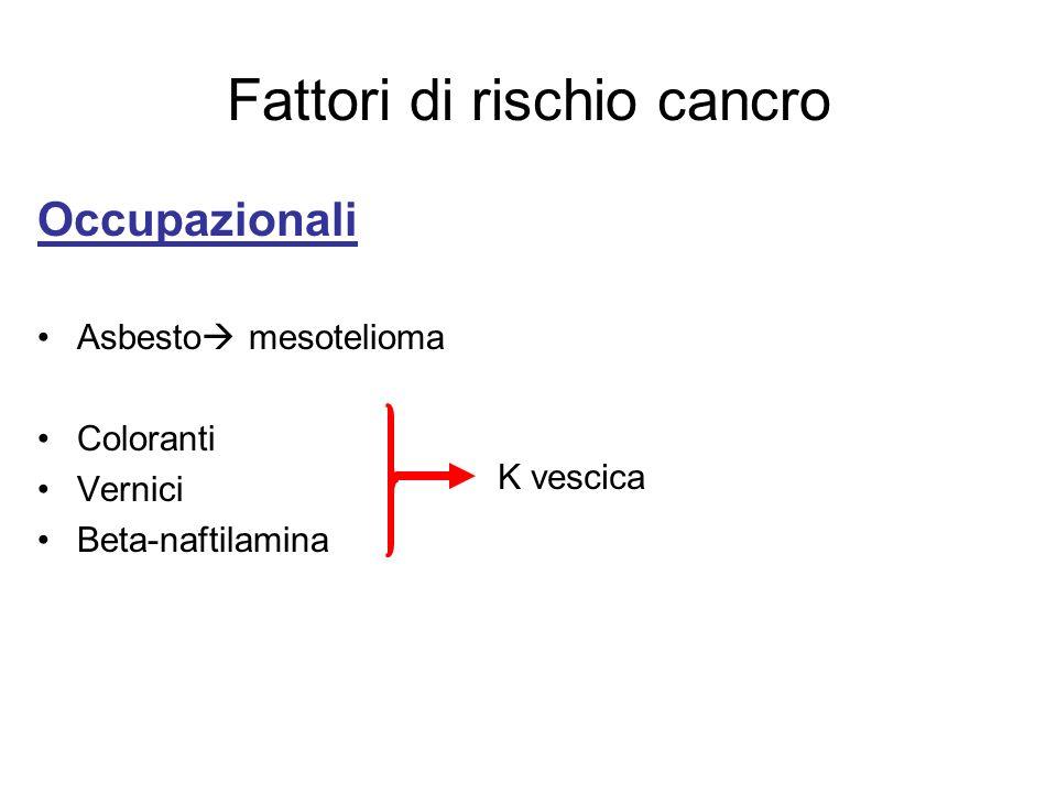 Fattori di rischio cancro Occupazionali Asbesto mesotelioma Coloranti Vernici Beta-naftilamina K vescica