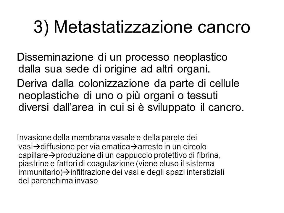 3) Metastatizzazione cancro Disseminazione di un processo neoplastico dalla sua sede di origine ad altri organi. Deriva dalla colonizzazione da parte