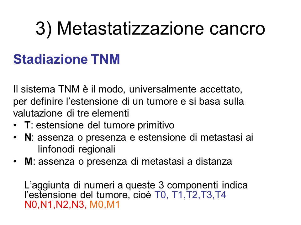 3) Metastatizzazione cancro Stadiazione TNM Il sistema TNM è il modo, universalmente accettato, per definire lestensione di un tumore e si basa sulla
