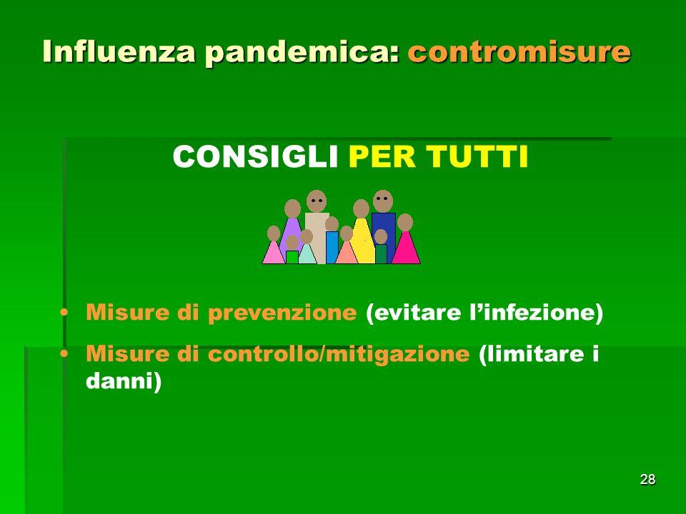 28 Influenza pandemica: contromisure CONSIGLI PER TUTTI Misure di prevenzione (evitare linfezione) Misure di controllo/mitigazione (limitare i danni)