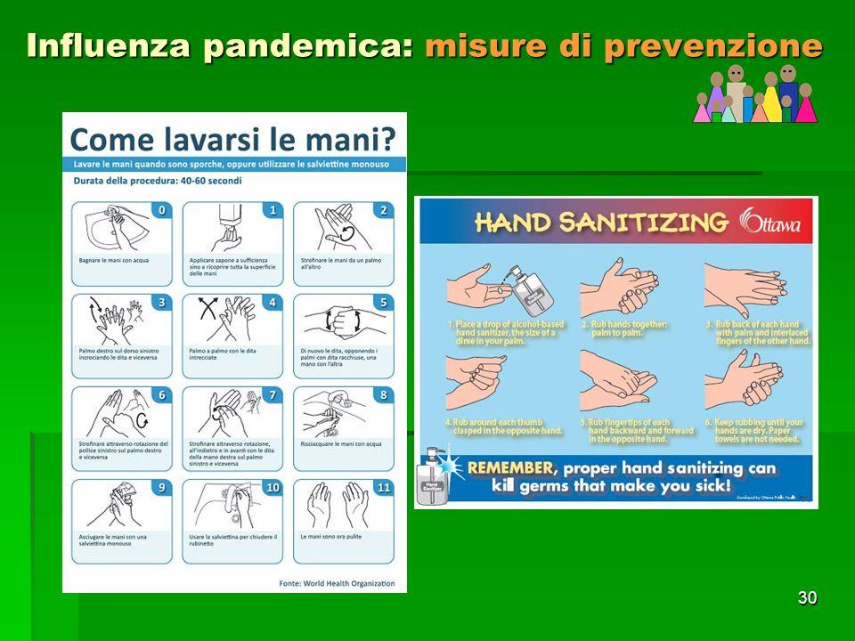 30 Influenza pandemica: misure di prevenzione