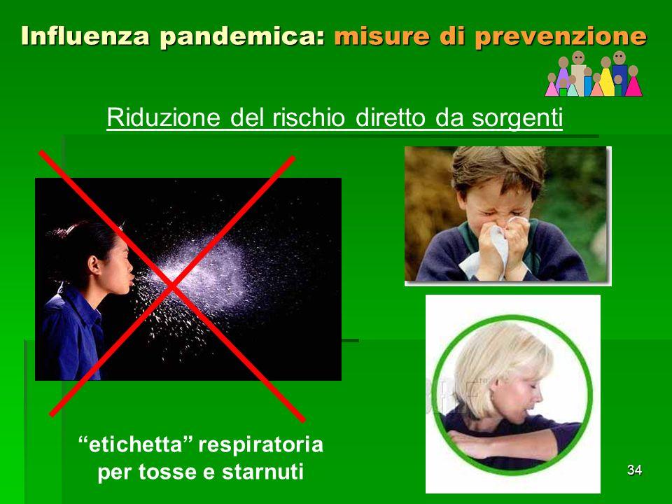 34 Influenza pandemica: misure di prevenzione Riduzione del rischio diretto da sorgenti etichetta respiratoria per tosse e starnuti