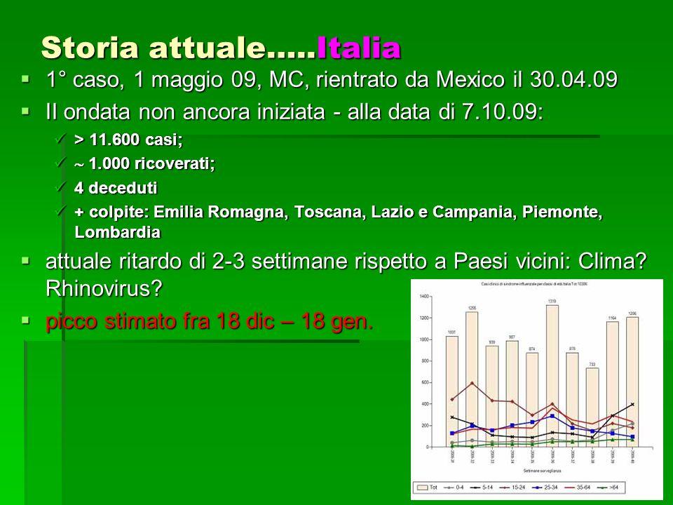 6 Storia attuale…..Italia 1° caso, 1 maggio 09, MC, rientrato da Mexico il 30.04.09 1° caso, 1 maggio 09, MC, rientrato da Mexico il 30.04.09 II ondata non ancora iniziata - alla data di 7.10.09: II ondata non ancora iniziata - alla data di 7.10.09: > 11.600 casi; > 11.600 casi; 1.000 ricoverati; 1.000 ricoverati; 4 deceduti 4 deceduti + colpite: Emilia Romagna, Toscana, Lazio e Campania, Piemonte, Lombardia + colpite: Emilia Romagna, Toscana, Lazio e Campania, Piemonte, Lombardia attuale ritardo di 2-3 settimane rispetto a Paesi vicini: Clima.