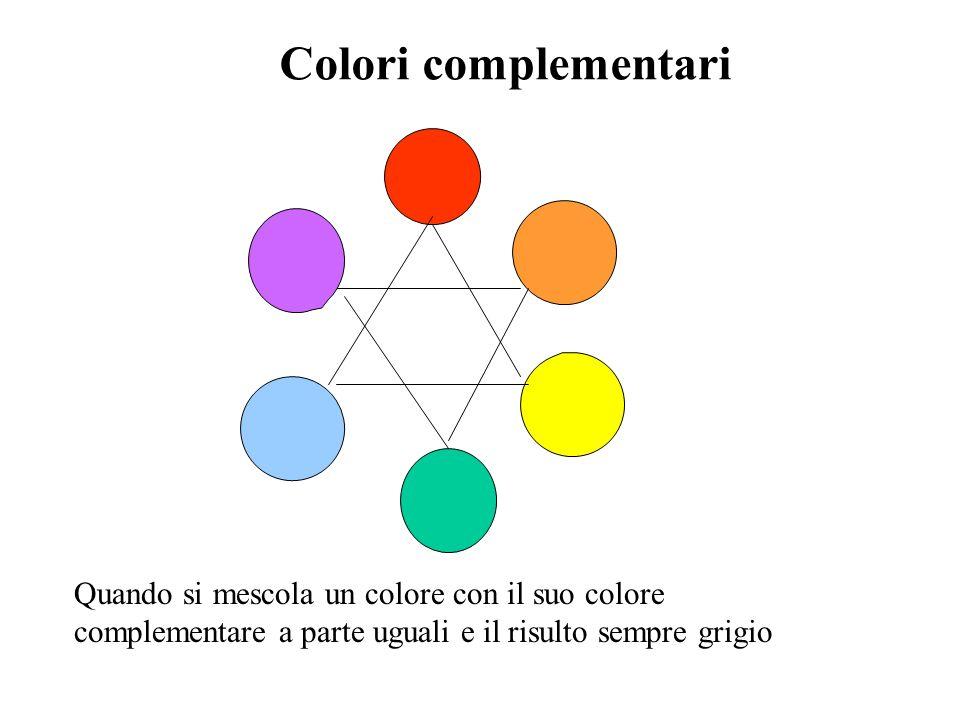 Colori complementari Quando si mescola un colore con il suo colore complementare a parte uguali e il risulto sempre grigio