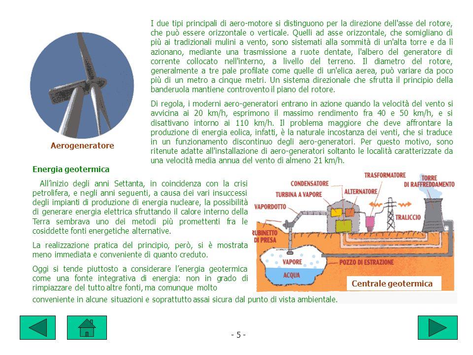 - 5 - I due tipi principali di aero-motore si distinguono per la direzione dell asse del rotore, che può essere orizzontale o verticale.