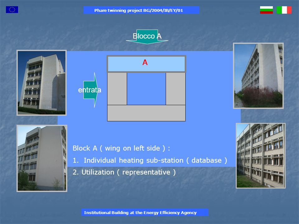 A Block A ( wing on left side ) : 1.Individual heating sub-station ( database ) 2.
