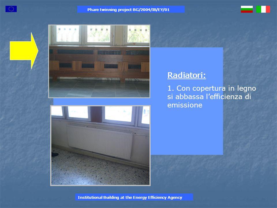 Sistema di condizionamento : 1.Tipologie differenti di potenza e vetustà 2.Presenti solo in alcuni ambienti 3.( studi dei professori ) Phare twinning project BG/2004/IB/EY/01 Institutional Building at the Energy Efficiency Agency