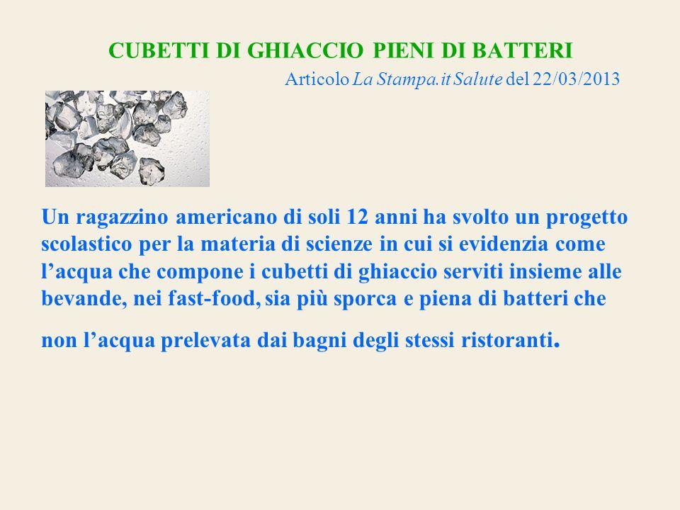 CUBETTI DI GHIACCIO PIENI DI BATTERI Articolo La Stampa.it Salute del 22/03/2013 Un ragazzino americano di soli 12 anni ha svolto un progetto scolasti