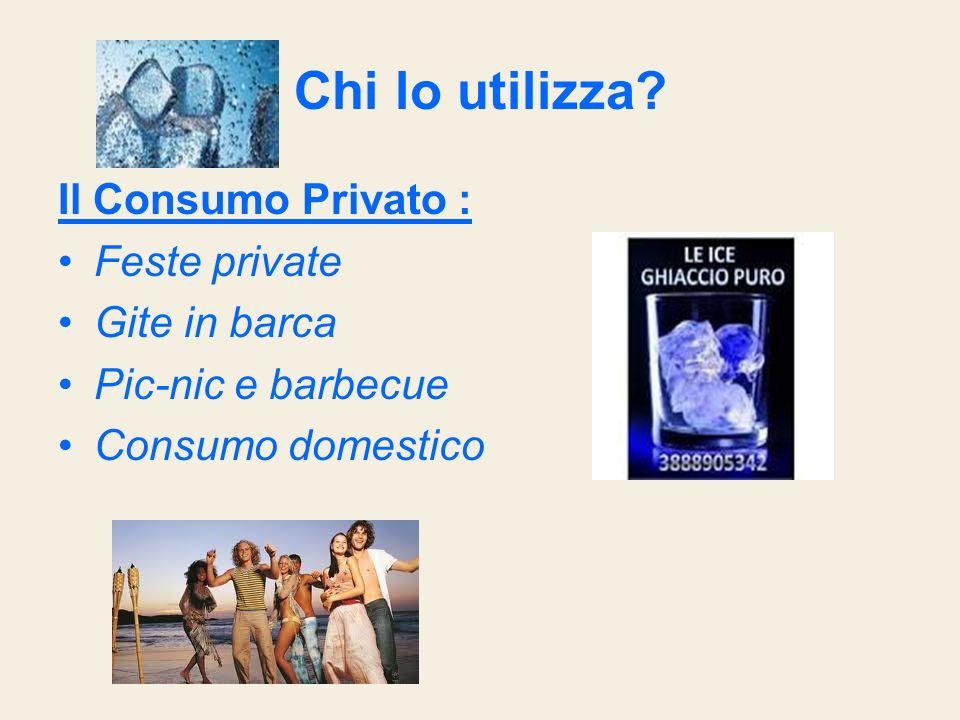 Chi lo utilizza? Il Consumo Privato : Feste private Gite in barca Pic-nic e barbecue Consumo domestico