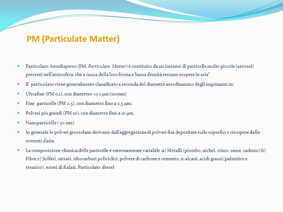 PM (Particulate Matter) Particolato Aerodisperso (PM, Particulate Matter) è costituito da un insieme di particelle molto piccole (aerosol) presenti ne