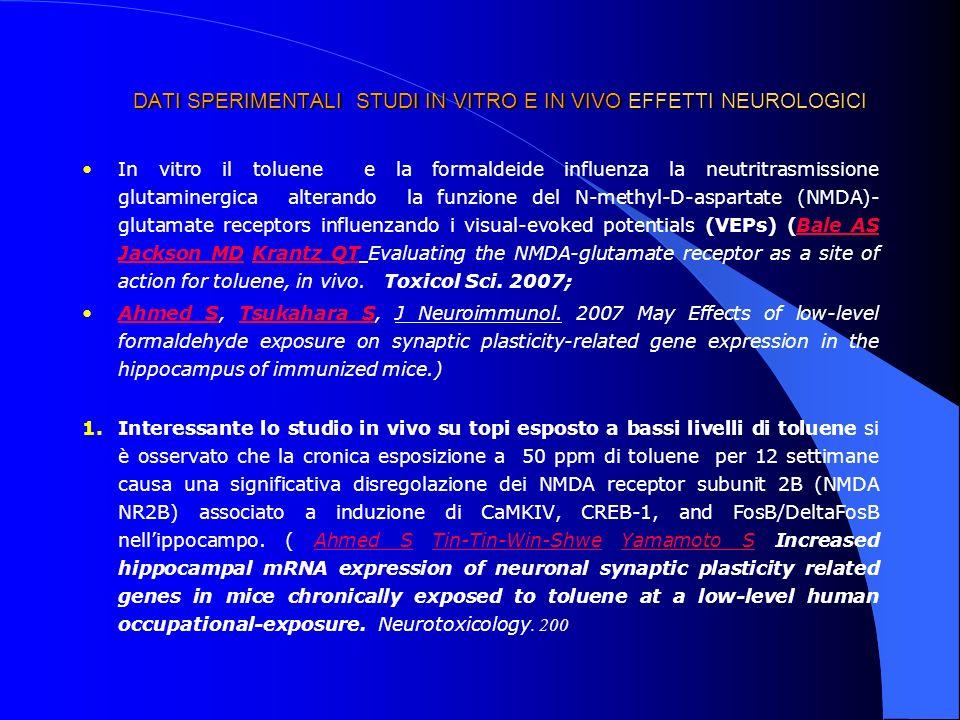 DATI SPERIMENTALI STUDI IN VITRO E IN VIVO EFFETTI NEUROLOGICI In vitro il toluene e la formaldeide influenza la neutritrasmissione glutaminergica alt
