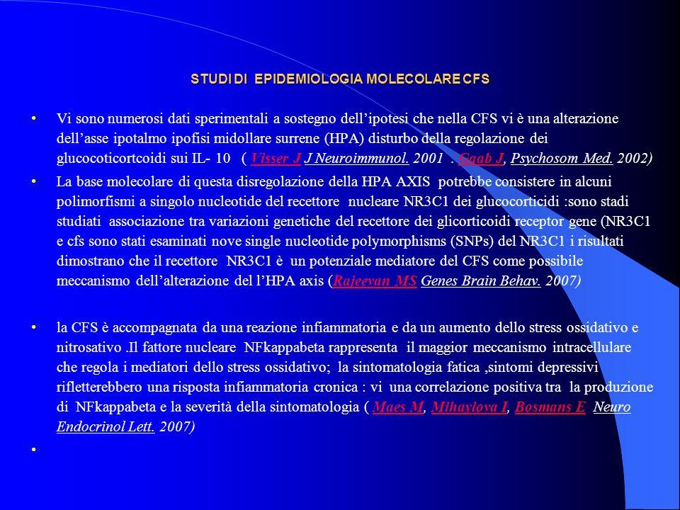 STUDI DI EPIDEMIOLOGIA MOLECOLARE CFS Vi sono numerosi dati sperimentali a sostegno dellipotesi che nella CFS vi è una alterazione dellasse ipotalmo i