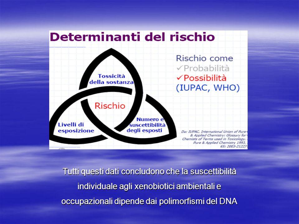 Tutti questi dati concludono che la suscettibilità individuale agli xenobiotici ambientali e occupazionali dipende dai polimorfismi del DNA Tutti ques